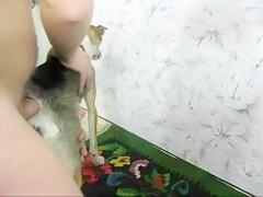 Linda Teen Rubia con perro