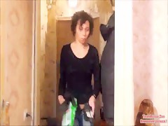 Busty Brunette with a Dog