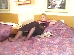 Hot blonde sucks cock