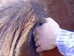 Rubia posando con caballo