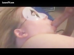 Masked wife enjoy dog cock